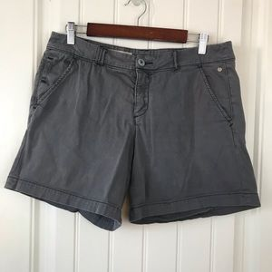 "Pilcro and the Letterpress Hyphen 7"" gray shorts"